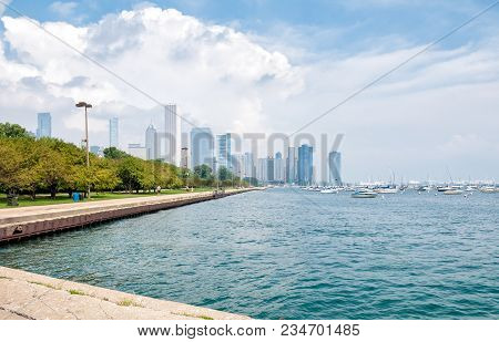 Landscape Of Lake Michigan With Chicago Skyline In The Background, Illinois, Usa