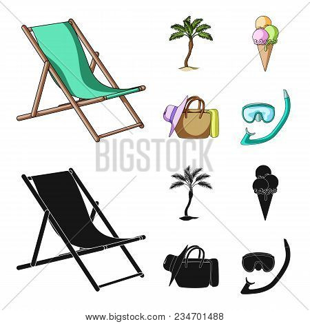 Beach, Palm Tree, Ice Cream.summer Vacation Set Collection Icons In Cartoon, Black Style Vector Symb