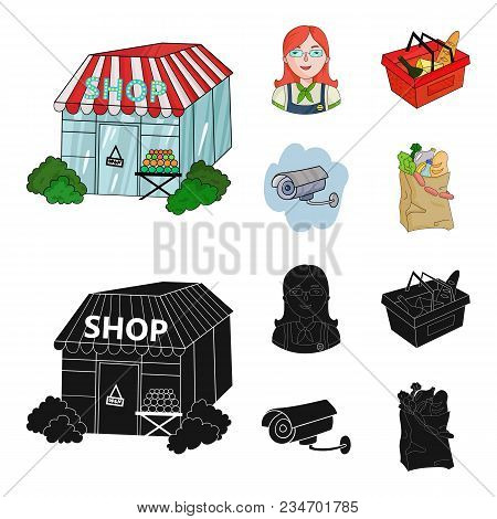 Salesman, Woman, Basket, Plastic .supermarket Set Collection Icons In Cartoon, Black Style Vector Sy