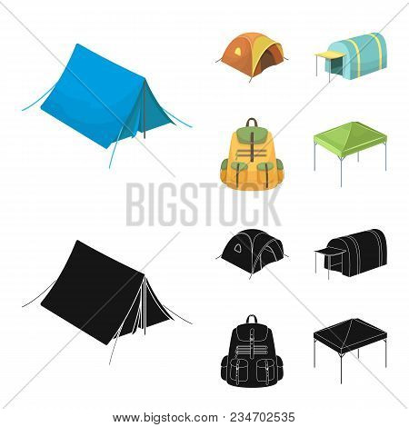 Backpack And Other Kinds Of Tents.tent Set Collection Icons In Cartoon, Black Style Vector Symbol St