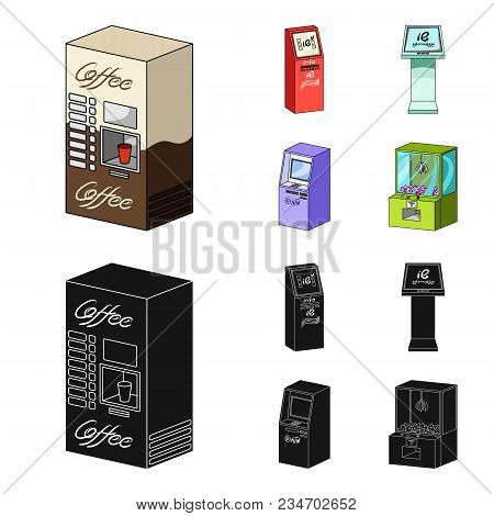 Coffee Machine, Atm, Information Terminal. Terminals Set Collection Icons In Cartoon, Black Style Is