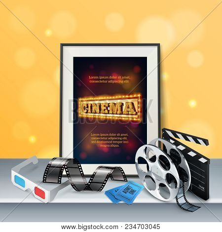 Cinema Background With 3d Glasses Film Strip Retro Reel Clapboard Two Tickets And Frame On Grey Surf