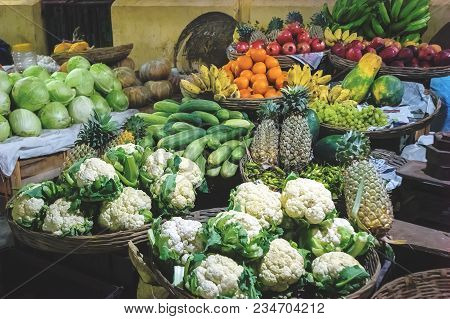 Different Kinds Of Vegetables For Sale At A Market. Fruits And Vegetables At The Vegetable Street Ma