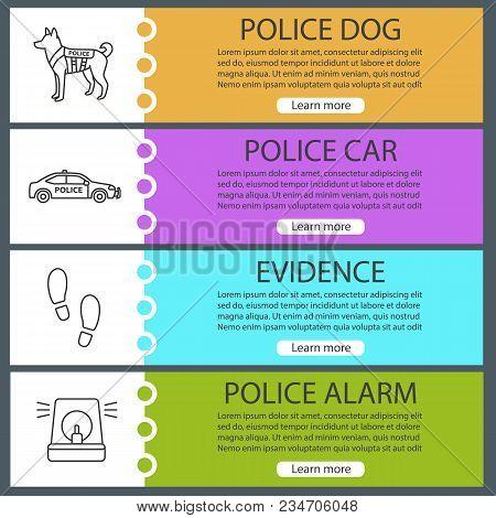 Police Web Banner Templates Set. Military Dog, Car, Footprints, Alarm. Website Color Menu Items With