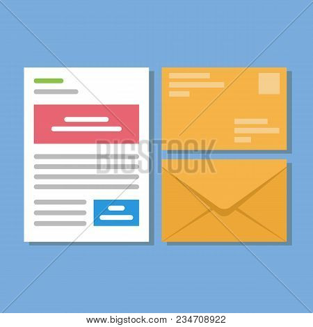 Set Of Icons With A Picture Of A Closed Letter. Paper Document Enclosed In An Envelope. Delivery Of