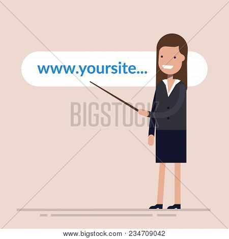Happy Businesswoman Or Manager Shows A Pointer To The Website Address. Address Line Of Your Store Or