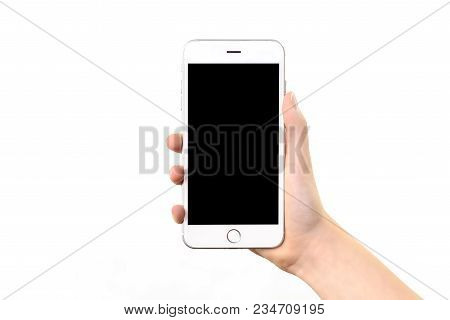Mockup Of A Generic Modern White And Silver Digital Smartphone In Woman Hand And Isolated On A White