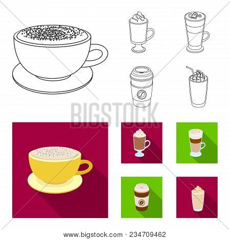 Mocha, Macchiato, Frappe, Take Coffee.different Types Of Coffee Set Collection Icons In Outline, Fla
