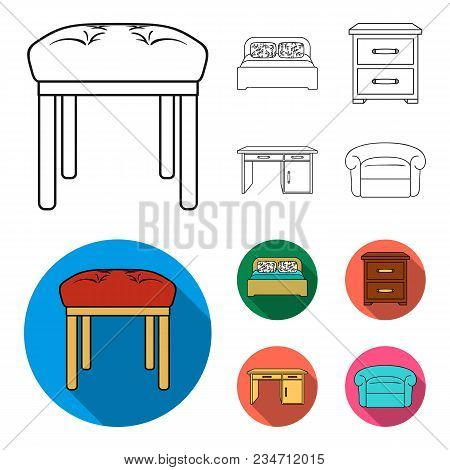 Interior, Design, Bed, Bedroom .furniture And Home Interiorset Collection Icons In Outline, Flat Sty