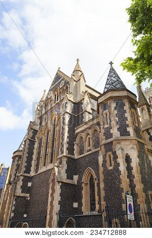 12th Century Gothic Style Southwark Cathedral, London, United Kingdom. Church Lies On The South Bank