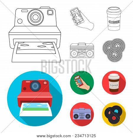 Hipster, Fashion, Style, Subculture .hipster Style Set Collection Icons In Outline, Flat Style Vecto