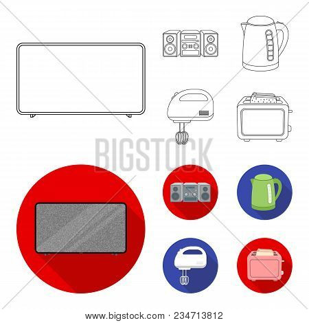 Electric Kettle, Music Center, Mixer, Toaster.household Set Collection Icons In Outline, Flat Style
