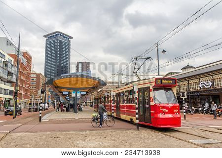 The Hague, The Netherlands - 31 March 2018: City Scene Around Hollands Spoor Train Station With Tram