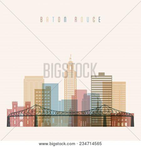 Baton Rouge State Louisiana, Skyline Detailed Silhouette. Transparent Style. Trendy Vector Illustrat