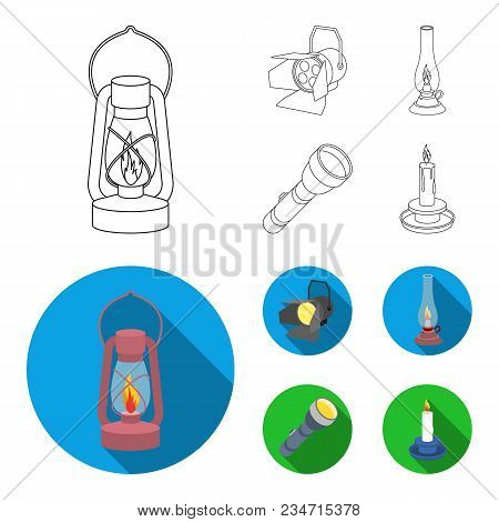 Searchlight, Kerosene Lamp, Candle, Flashlight.light Source Set Collection Icons In Outline, Flat St