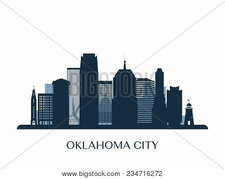 Oklahoma City Skyline, Monochrome Silhouette. Vector Illustration.