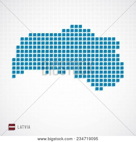 Latvia Map And Flag Icon
