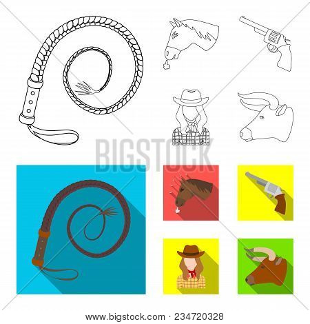 Head Of A Horse, A Bull Head, A Revolver, A Cowboy Girl.rodeo Set Collection Icons In Outline, Flat