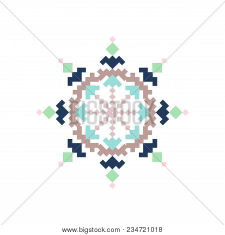Cross Stich Pattern In Flat Style. For Textile, Print, Original Design. Vector Illustration