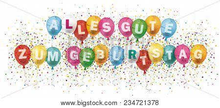 German Text Alles Gute Zum Geburtstag, Translate Happy Birthday. Eps 10 Vector File.