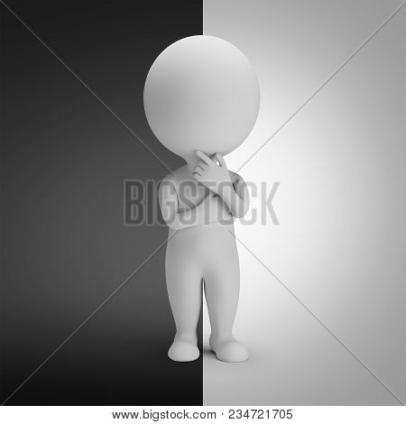 3d Small Person Standing In A Pensive Pose Between The Dark And Light Side. 3d Image.