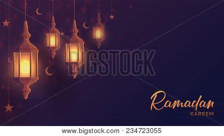 Ramadan Kareem Festive Web Banner. Beautiful Greeting Card Design With Lantern Or Fanoos In Paper Ar