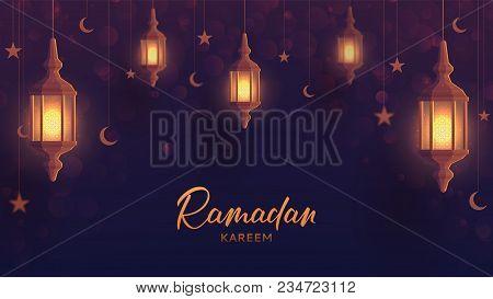 Ramadan Kareem Festive Web Banner Template. Beautiful Greeting Card Design With Lantern Or Fanoos In