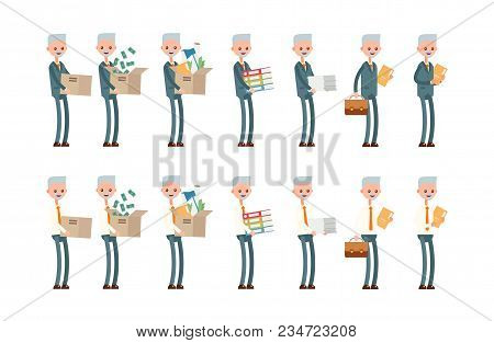 Carries Boxes, Gets A Job, Carries Money, Documents. Elderly Businessman. Cartoon Character Set