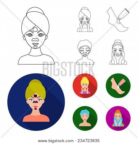 Face Care, Plastic Surgery, Face Wiping, Moisturizing The Feet. Skin Care Set Collection Icons In Ou