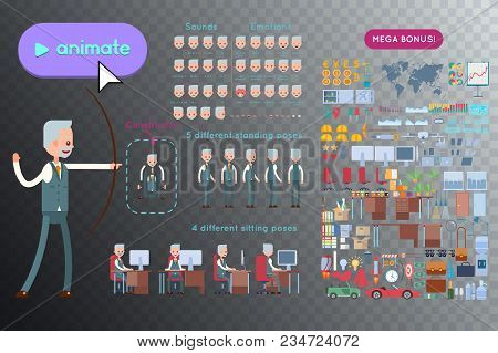 Set For Animation Elderly Businessman Character. Animation Of Sounds, Emotions. View Straight, Side,