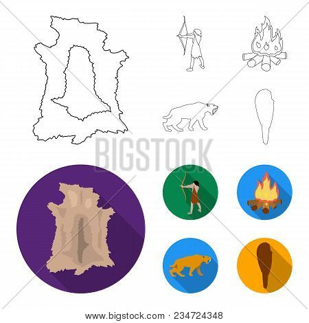 Man, Hunter, Onion, Bonfire .stone Age Set Collection Icons In Outline, Flat Style Vector Symbol Sto