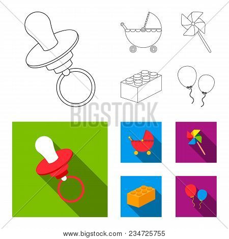 Stroller, Windmill, Lego, Balloons.toys Set Collection Icons In Outline, Flat Style Vector Symbol St