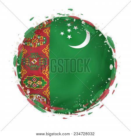 Round Grunge Flag Of Turkmenistan With Splashes In Flag Color. Vector Illustration.