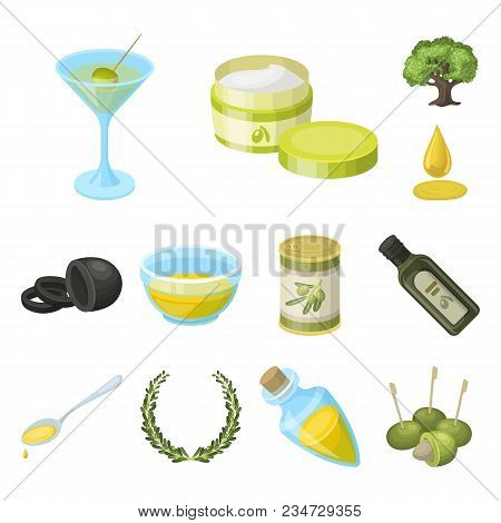 Olive, Food Cartoon Icons In Set Collection For Design. Olive Oil, Seasoning Vector Symbol Stock  Il