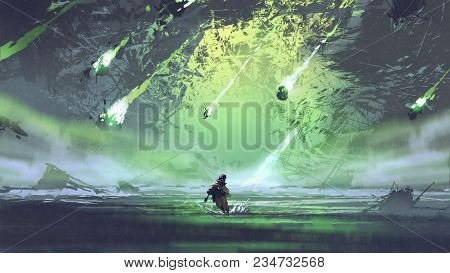 Man Running From Meteorite Or Debris Rocks With Fire Falling Into The Sea, Digital Art Style, Illust