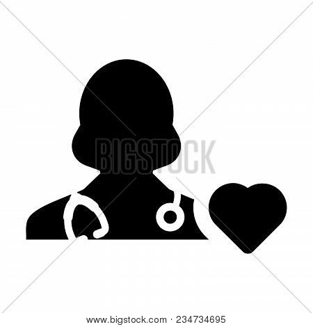 Doctor Icon Vector Cardiologist Specialist With Heart Symbol Female Physician Profile Avatar In Glyp