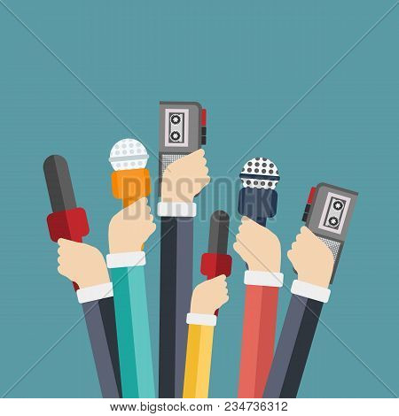 Microphones In Reporter Hands. Set Of Microphones And Recorders Isolated On Blue Background. Mass Me