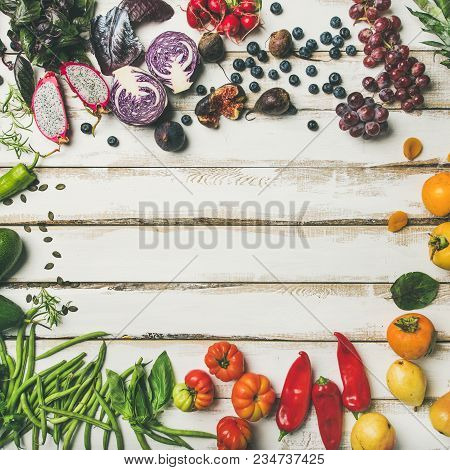 Helathy Raw Vegan Food Cooking Background. Flat-lay Of Fresh Fruit, Vegetables, Greens And Superfood