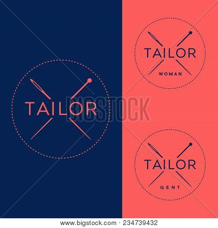 Tailor Logo, Clothing, Couturier Logo. Sewing Workshop. Clothing Repair. Crossed Needle And Pin In A