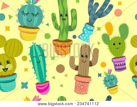 A Seamless Pattern Of Cheerful Cactus Plant Characters With Smiling Faces In Colourful Pots. Vector
