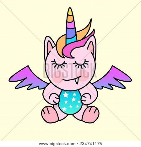 A Small Fantasy Creature With Unicorn And Pegasus Features. Vector Illustration