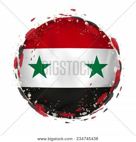 Round Grunge Flag Of Syria With Splashes In Flag Color. Vector Illustration.