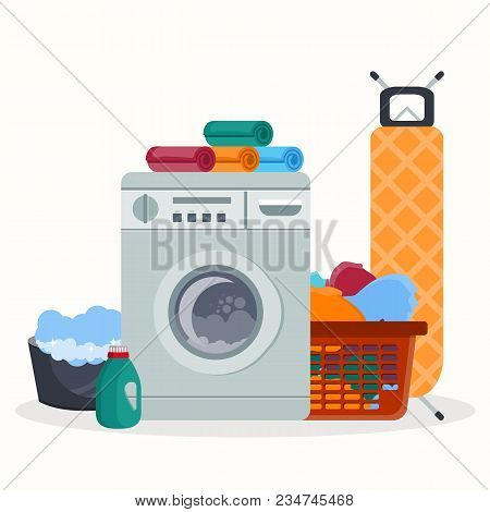 Laundry Room Service Concept. Working Washing Machine With Linen Baskets, Detergent, Ironing Board A