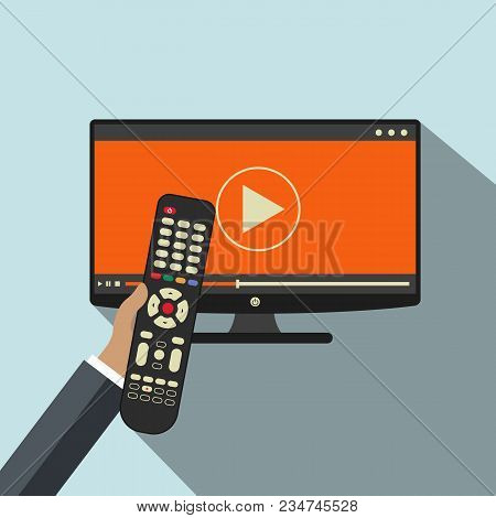 Hand Holding Remote Control. Tv Icon Concept. Play Icon On Television. Smart Tv Concept. Flat Vector