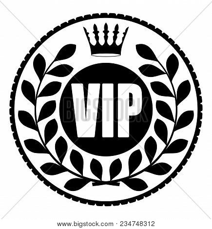Black Round Vip Rubber Stamp Style Icon With Crown And Wreath Of Laurel Leaves On A Dark Background.