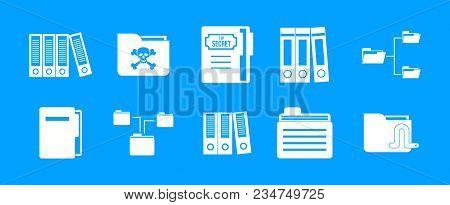 Folder Icon Set. Simple Set Of Folder Vector Icons For Web Design Isolated On Blue Background
