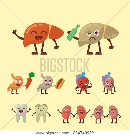 Human Organs Healthy And Unhealthy Vector Set. Medical Anatomic Funny Cartoon Character Pairs Of Org