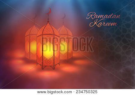 Ramadan Kareem Vector . Eid Mubarak Ramadan Background. Design Of Ramadan Lantern . Islamic Pattern