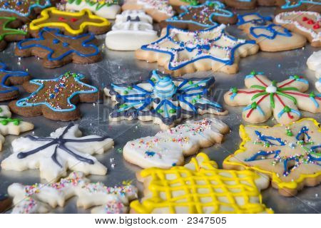 A Sheet Of Fancy Christmas Cookies