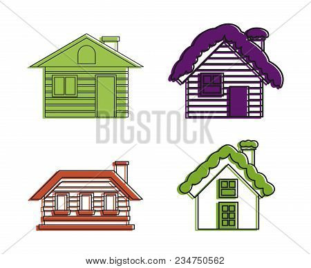 Wood House Icon Set. Color Outline Set Of Wood House Vector Icons For Web Design Isolated On White B
